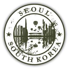 "Seoul South Korea Grunge Rubber Travel Stamp Car Bumper Sticker Decal 5"" x 5"""