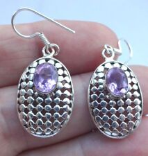 Superb Sterling Silver and Pink Amethyst Dangley Drop Ear Rings