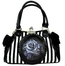 Black Rose Clutch Handbag White Stripe Purse Gothic Lolita Victorian Alternative