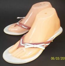 Coach LAYNE Wo's US 8 B Mauve White Leather Bow Slip-On Thong Mules Heel Sandals