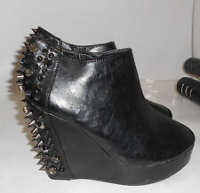 "Privileged 4.5"" Wedge Heel Spikes 1.5"" Platform Round Toe Ankle Boots Size 6.5"