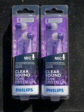Philips Clear Sound Purple - SHE3595PP - In-Ear Headphones With Mic (Lot Of 2)