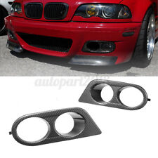 Pair Front Fog Light Cover Surrounds Air Duct Carbon Fiber For BMW E46 M3 01-06