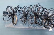 Classic Design Beaded Napkin Holder Rings Dinning Table Decor Set of 4