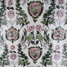 "Vintage Polished Cotton Decorator Fabric Green Pink White 8 Yards x 35"" Birds"