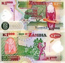 Zambia 1000 Kwacha Banknote pick p44d Polymer Fish Eagle Bird Aardvark