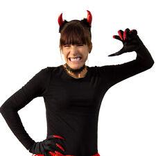 Hexe Teufel Kostüm Accessoire Set - Haarreifen + Handschuhe + Halsband Halloween