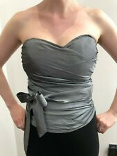Ladies Topshop UK size 10 Silver boned Bustier with removable waist tie