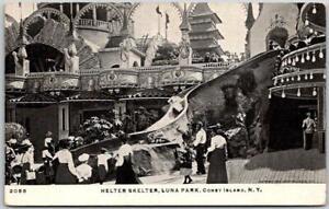 "1910s CONEY ISLAND NY Postcard ""HELTER SKELTER, LUNA PARK"" Amusement Ride UNUSED"