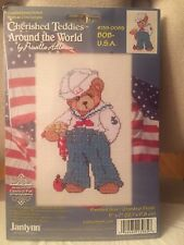 "NIP Janlynn Cherished Teddies Around the World Counted Cross Stitch Kit ""Bob-USA"