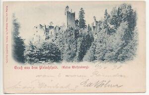 Frankenfels,Gruss aus dem Pielachthale,Ruine Weißenburg,1898 gelauen