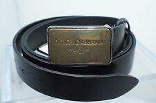 New Dolce & Gabbana Men's Belt Black Leather Size 115 Logo Adjustable