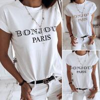 Women's Bonjour Paris Print T-Shirts Short Sleeve Cotton Casual Top Shirt Blouse
