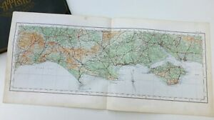 SOUTHERN ENGLAND - DORSET, ISLE OF WIGHT -  Antique Cloth-backed O.S. Map, 1922