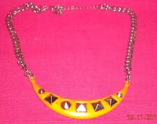 Women's Fashion Necklace - Fluoro Orange Metal With Silver Shapes Embedded.