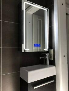LED Mirror Cabinet 60x40 Stainless Bluetooth Radio Temperature Clock Bathroom Wc
