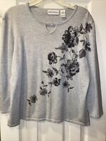 Alfred Dunner Women's Pullover Sweater Grey with Floral Embroidery Large EUC