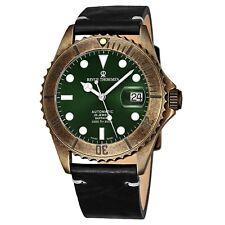 Revue Thommen Men's Diver Green Dial Black Leather Automatic Watch 17571.2583