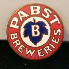 Vintage Copper Round Edge Pabst Enameled Metal Pin