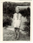1950's Soviet photo SMILING GIRL IN SUMMER CLOTHES at the pond