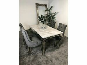 Louis Grey Marble 160CM Dining Table + Grey Lion Knocker Velvet Chairs