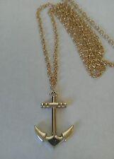"Anchor (33 * 23 mm) Luz Oro Charm Colgante, Largo 30 ""Cadena Collar"