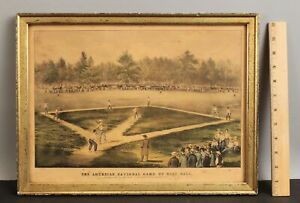 Antique Original 19thC American National Game of Baseball CURRIER & IVES Print