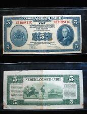 NETHERLANDS INDIES 5 GULDEN 1943 P113 INDONESIA 811# CURRENCY BANKNOTE MONEY