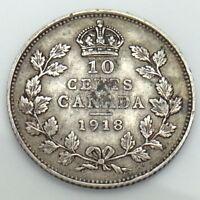 1918 Canada Ten 10 Cents Circulated Canadian Dime Coin E803