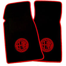 Black Velours Floormats for Alfa Romeo Spider Fastback 1982-1989 red