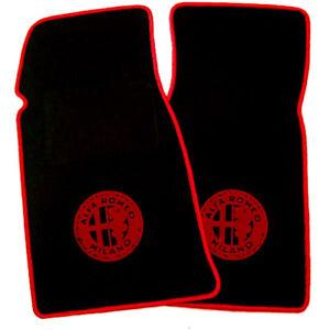 Black Velours Floormats for Alfa Romeo Spider Fastback 1982-1989 red