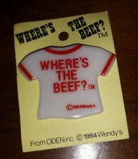 Vintage NOS 1984 Wendy's Where's the Beef T-Shirt Button Pin on Card