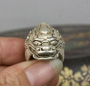 3CM Old Chinese Miao Silver unicorn Beast Head Beast Jewellery Hand Ring