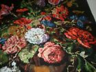 Vintage Floral Completed Needlework Hand Stitched Petit Point made in Greece