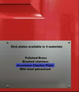 KICK PLATES  - ALUMINIUM 5 BAR TREAD CHECKER PLATE - 2mm thick - glue/screw fix