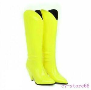 Womens Knee High Boot Cowboy Western Cone Heel Pointy Toe Candy Color Shoes Lady
