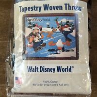 Walt Disney World Mickey Mouse Ice Skating Tapestry Woven Throw vintage blanket