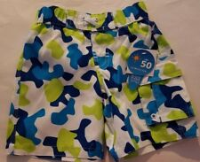 Toddler Boys Wave Zone Brand White Navy Blue Green Swim Trunks Size 24 Months