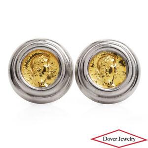 Estate 18K Gold Sterling Silver Greek Coin Earrings 25.4 Grams NR