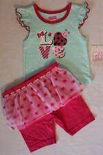 NEW Baby Girls 2pc Set 24 Months T-Shirt Shorts Tutu Outfit Love Ladybug Glitter