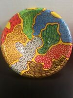 Vintage Hand Painted Paper Mache Fruit/Centerpiece Bowl Native Haiti Signed 8.5""
