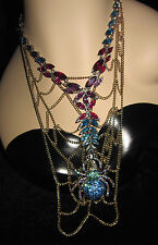 BETSEY JOHNSON BLING BLUE SPIDER LUXE WITH WEB STATEMENT NECKLACE ORG $185.00