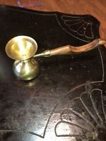 """Vintage Wood Handle Brass Candle Snuffer Great Deal For Any Occasion Used 9"""" Lon"""