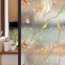 Privacy Window Film Opaque Non-Adhesive Frosted Bird Window Film Decorative