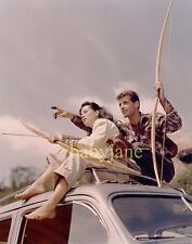 060 GUY MADISON GAIL RUSSELL CANDID FISHING ON BOAT COLOR PHOTO