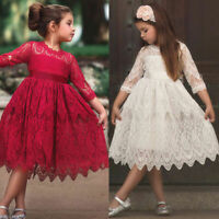 Princess Lace Pleated Dress Kids Flower Girls Bridesmaid Wedding Party Dresses