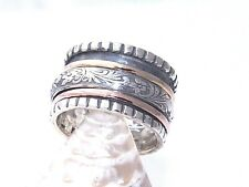 Hand Made Hammered 14K Yellow and Pink Gold and .925 Sterling Silver Spinner US9