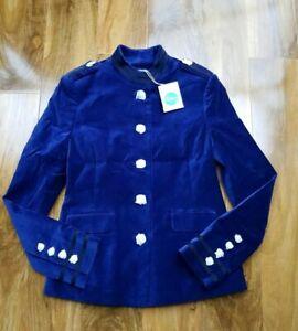 Boden Ladies Velvet GORGEOUS Military Style ROYAL BLUE JACKET BRAND NEW T0030