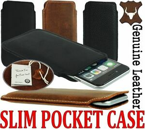 SLIM 3C PREMIUM GENUINE LEATHER POCKET CASE COVER SLEEVE POUCH FOR MOBILE PHONES