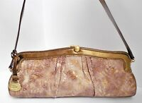 Brahmin Beige Gold Snake Embossed Patent Leather Clutch Shoulder Bag
